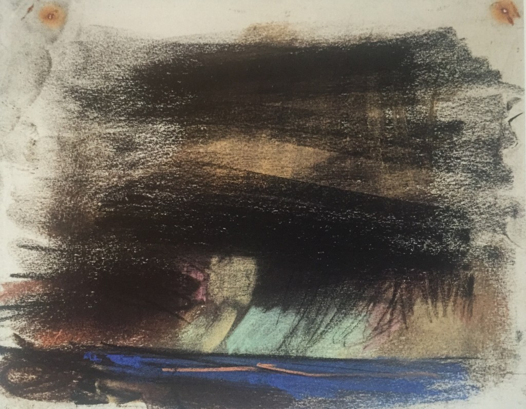 "Joan Eardley and her pastel landscapes: Joan Eardley, ""Black Sky with Blue Sea,"" c.1962-63, pastel on paper, 7 7/8 x 10 in, Scottish Gallery of Modern Art, Edinburgh"