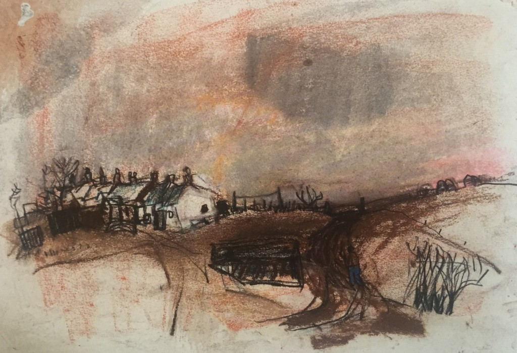 "Joan Eardley and her pastel landscapes: Joan Eardley, ""Catterline Cottages,"" c. 1954-57, pastel on paper, 9 1/2 x 13 1/2 in, Private Collection"