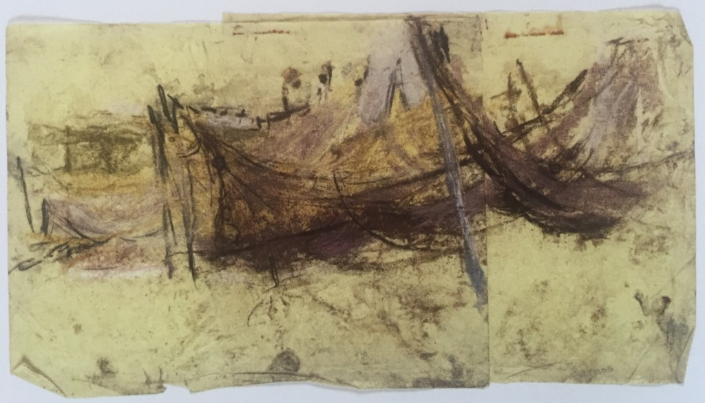 "Joan Eardley and her pastel landscapes: Joan Eardley, ""Fishing Nets Hung Up,"" pastel on two sheets of yellow paper, 8 1/2 x 15 1/8 in, Scottish National Gallery of Modern Art, Edinburgh"