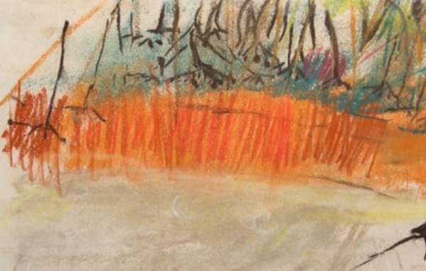 "Joan Eardley and her pastel landscapes: Joan Eardley, ""Landscape Little Larch Wood,"" n.d., pastel, 5 x 12 in, Gracefield Arts Centre, Dumfries, Scotland"