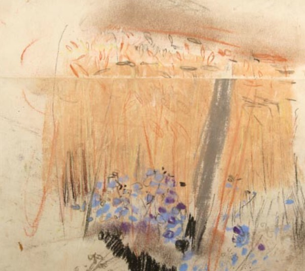 "Joan Eardley and her pastel landscapes: Joan Eardley, ""Landscape Study,"" pastel on joined paper, 8 1/2 x 9 in, Gracefield Arts Centre, Dumfries, Scotland"