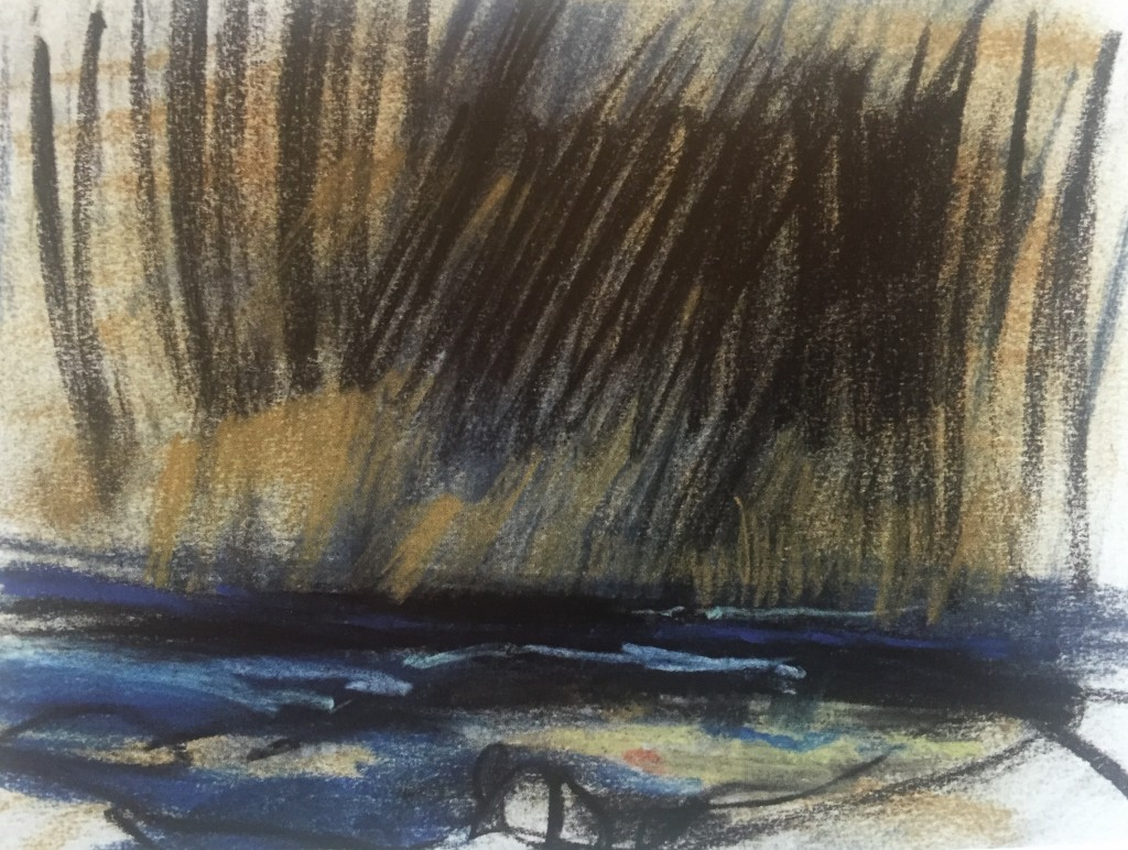 "Joan Eardley and her pastel landscapes: Joan Eardley, ""Sea and Stormy Clouds,"" c.1962-63, pastel on paper, 6 7/8 x 9 1/4 in, Private Collection"