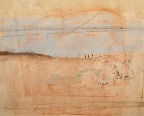 """Joan Eardley and her pastel landscapes: Joan Eardley, """"Sheep Study,"""" n.d., chalk and conte, 6 1/2 x 6 1/2 in, Gracefield Arts Centre, Dumfries, Scotland"""