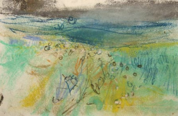 "Joan Eardley and her pastel landscapes: Joan Eardley, ""Small Landscape Sketch,"" pastel, 5 x 8 in, Gracefield Arts Centre, Dumfries, Scotland"