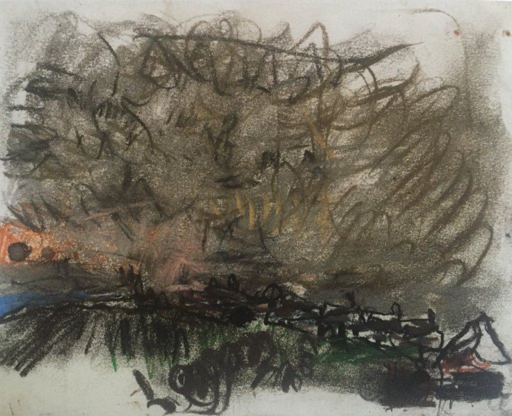"Joan Eardleyand her pastel landscapes: Joan Eardley, ""Stormy Sky Over Catterline,"" c.1962-63, pastel on paper, 8 x 9 7/8 in, Scottish National Gallery of Modern Art, Edinburgh"