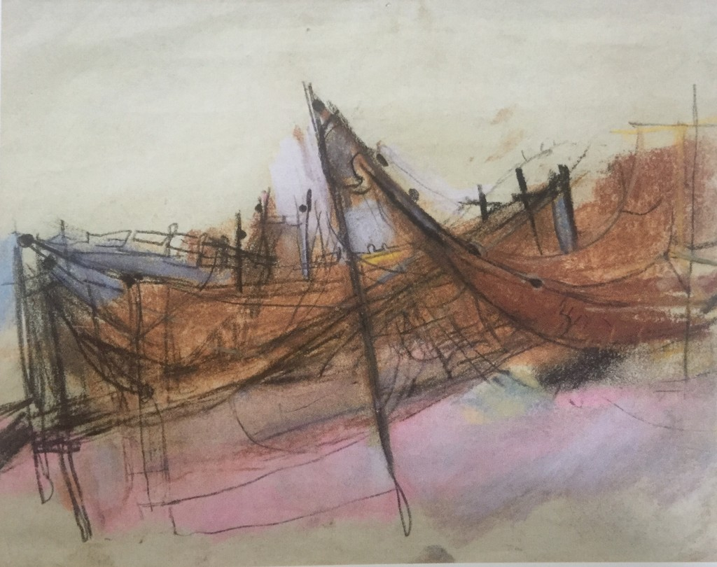 "Joan Eardley and her pastel landscapes: Joan Eardley, ""Study For Drying Nets,"" 1956, charcoal and pastel on paper, 7 7/8 x 10 1/8 in, Private Collection"