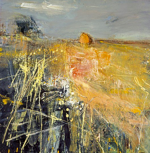"Joan Eardley and her pastel landscapes: Joan Eardley, ""Summer Fields,"" c. 1961, oil and grasses on hardboard, 41 3/4 x 59 in (106 x 150 cm), Scottish National Gallery of Modern Art"