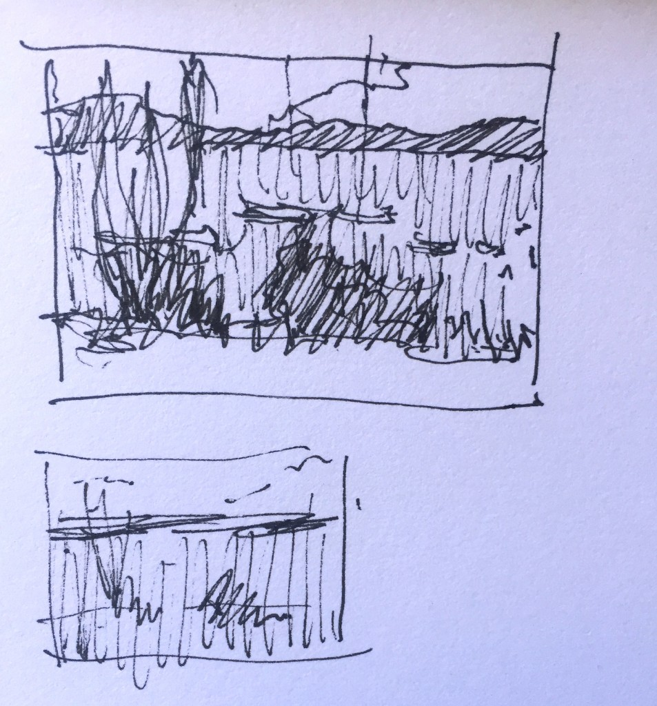 Pastelling Outdoors: 1. First the thumbnail sketch in pen and ink. The lower sketch is a further simplification into three values.