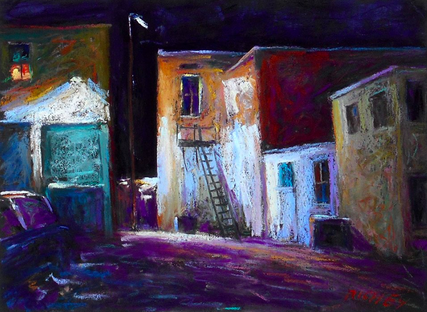 """May's Marvellous Pastels: Bob Richey Jr., """"Alleyway at Night,"""" pastel on Colourfix black paper, 9 x 12 in"""