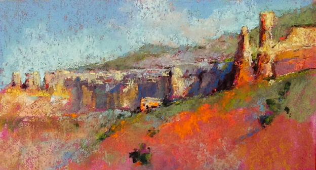"May's Marvellous Pastels: Denali Brooke, ""Ghost Ranch Morning,"" plein air pastel, 5 x10 in"