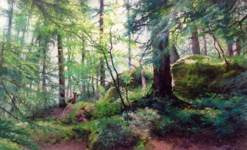 """May: Doreen St John, """"After the Rain,"""" pastel on UArt 400, 15 x 24 in"""