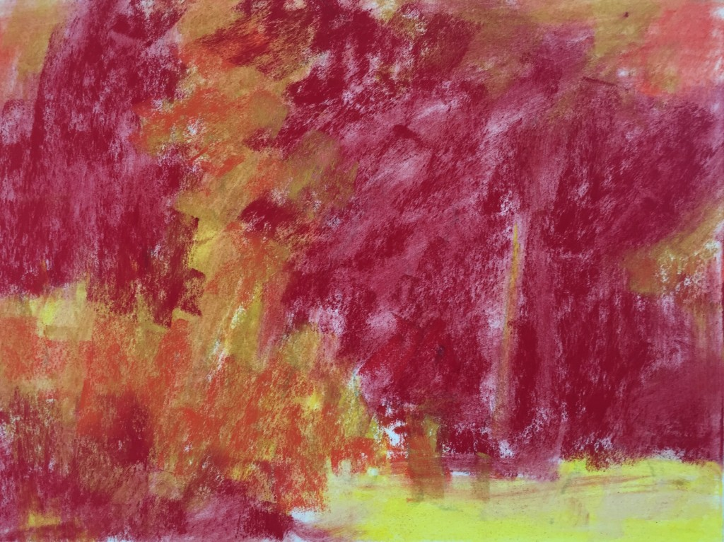 Garden Corner: 6. Reasserting the values with the same three colours. Wiping the paper to create the underpainting always lightens these value areas.