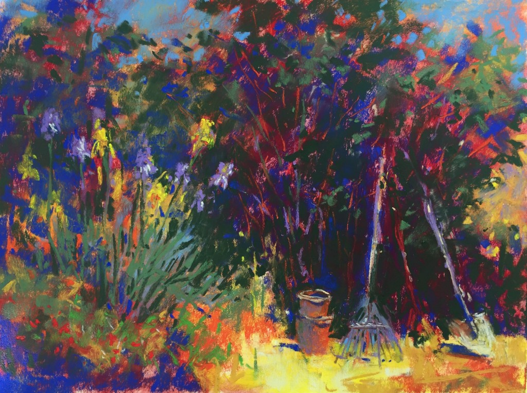 Garden corner: 10. I decided that the light area behind the irises was competing with them and really, it was the irises that drew me to painting this scene. So in order to show them off, I chose to darken the background behind them.