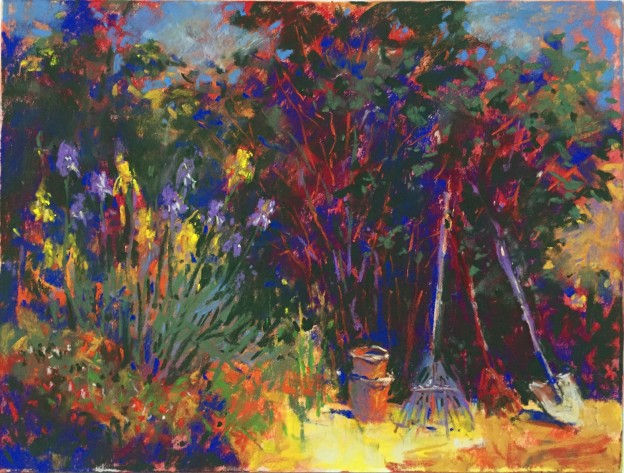 "11. A few more tweaks and for now, it's done! ""Garden Corner, Schminke pastels on Wallis paper, 9 x 12 in"