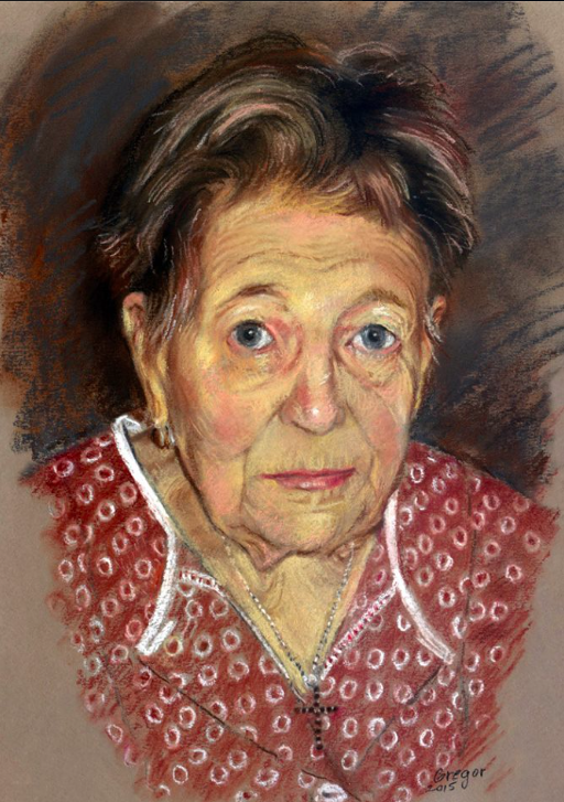 """May's Marvellous Pastels: Joseph Gregor, """"Portrait of My 92 Year Old Aunt,"""" pastel, 16.5 x 11.75 in"""