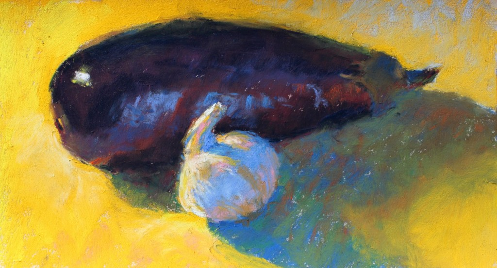 """Painting an Eggplant: Gail Sibley, """"Eggplant and Garlic,"""" Mount Vision pastels on UArt 400 grit paper, 6 x 11 in"""
