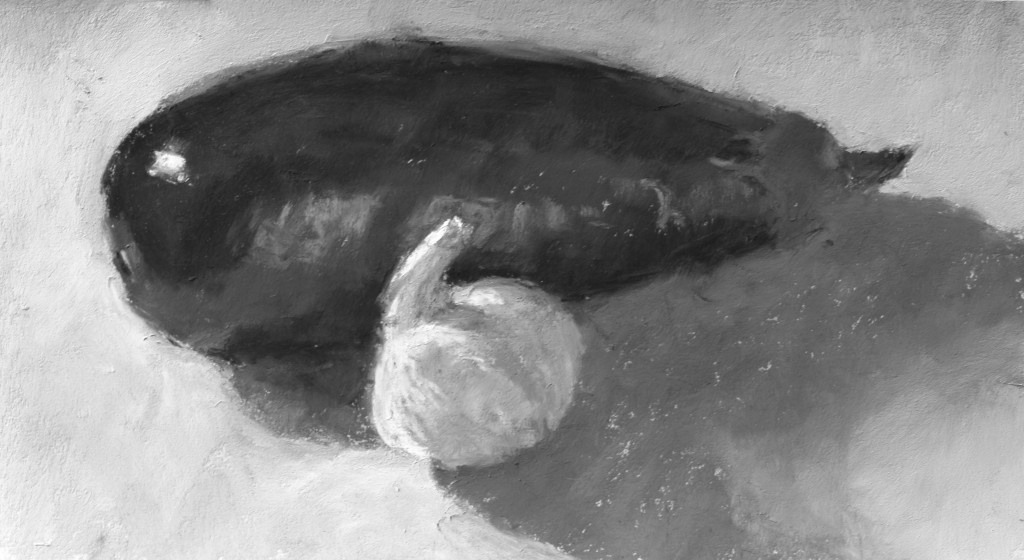 """Painting an Eggplant: Gail Sibley, """"Eggplant and Garlic,"""" Mount Vision pastels on UArt 400 grit paper, 6 x 11 in- in bxw"""