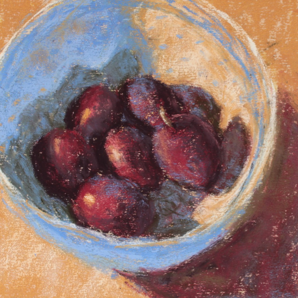 "Limited Palette: Highlights added, plum forms further refined, pattern on bowl quietly indicated, bowl's cast shadow enhanced, single stem added. And after 35 mins, it's done!    Gail Sibley, ""Backyard Plums, Terry Ludwig pastels on UArt 400 grit paper, 6 x 6 in"
