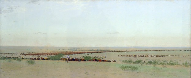 "Frank Reaugh, ""The O Roundup, Texas, 1888,"" 1894, pastel on paper mounted on canvas, 18 5/8 x 43 7/8 in, Panhandle-Plains Historical Museum, Frank Reaugh Estate Collection."
