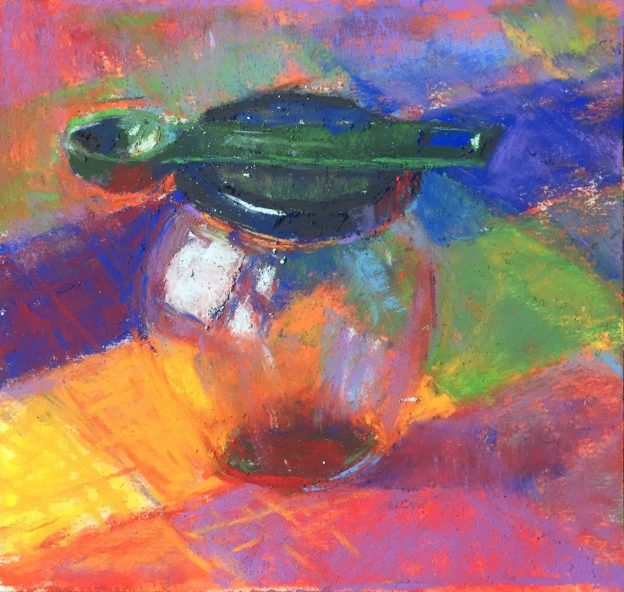 "Past the ugly stage: Gail Sibley, ""Waiting for a Refill,"" Schminke pastels on UArt 500, 5 3/4 x 5 3/4 in"