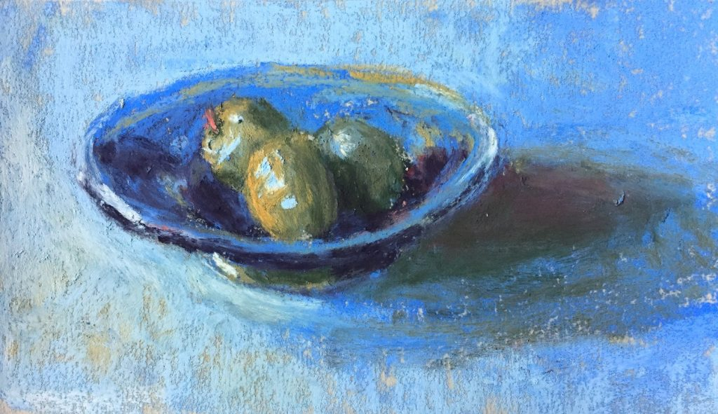 """Gail Sibley, """"Martini in Waiting,"""" Terry Ludwig pastels on UArt 600, 3 1/2 x 6 in (Day 10)"""