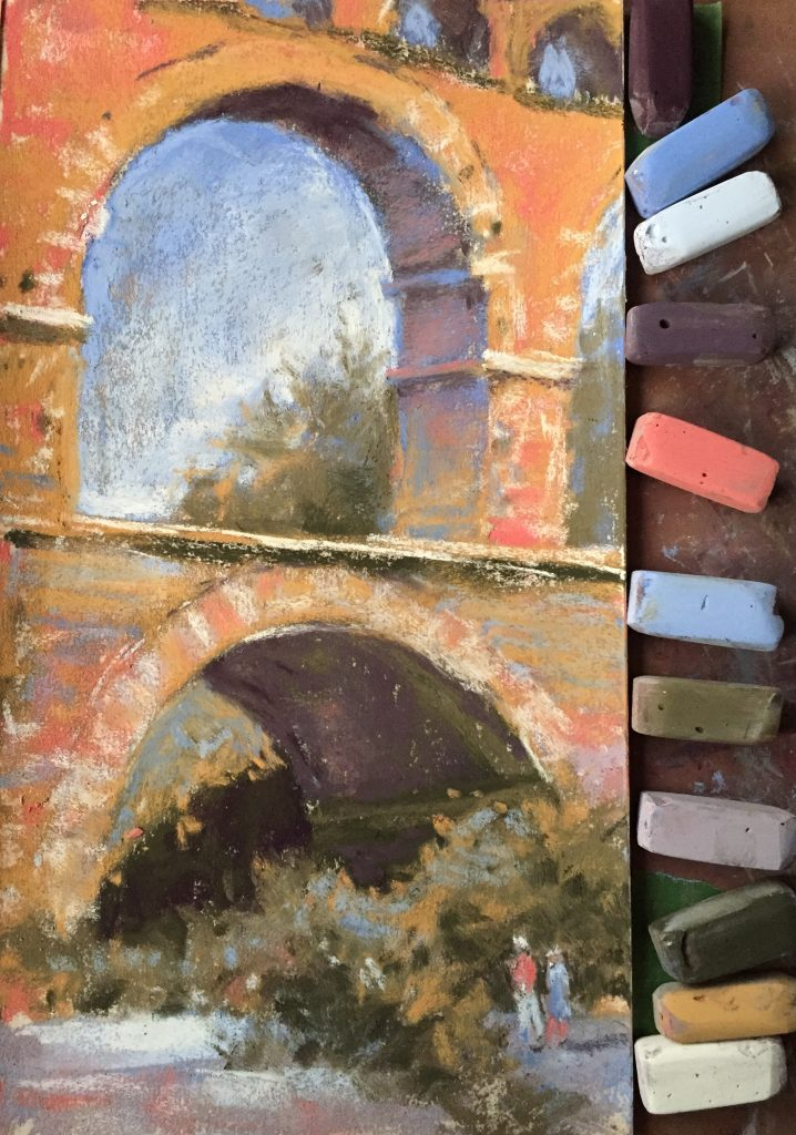 Gail Sibley, Pont du Gard, Terry Ludwig pastels on UArt 280, 11 x 6 in (Day 24)