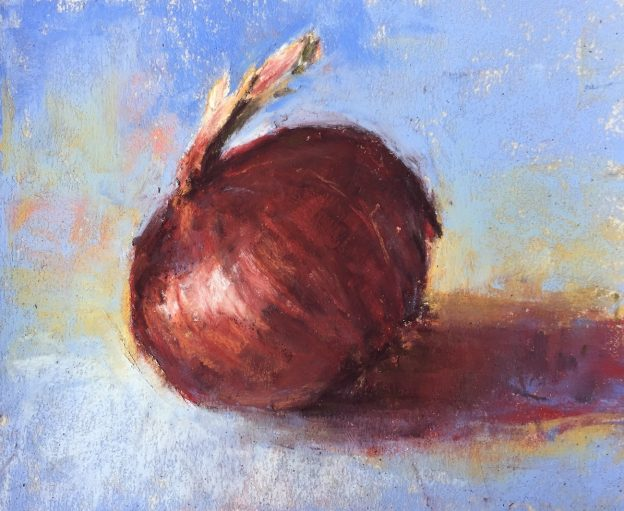 Gail Sibley, Red Onion, Terry Ludwig pastels on UArt 500, 5 x 6 in