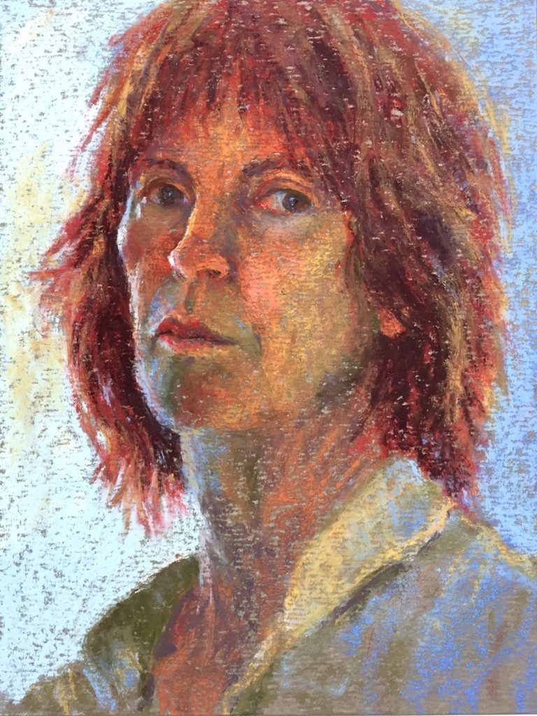 Gail Sibley, Self-Portrait, Terry Ludwig pastels on Wallis paper, 12 x 9 in
