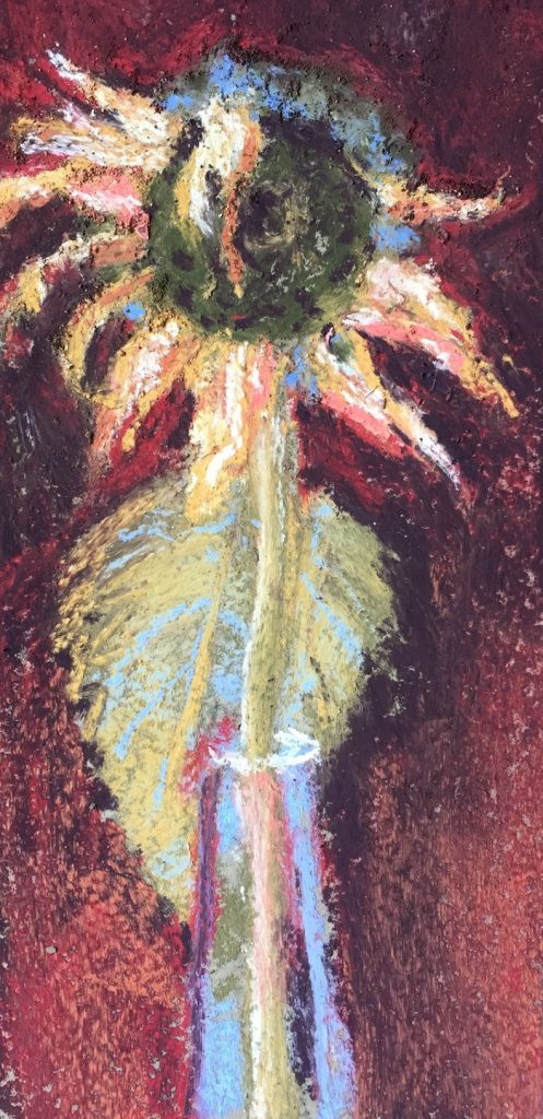 Gail Sibley, Fading Sunflower, Terry Ludwig pastels on Pastel Premier, 8 x 4 in (Day 12)