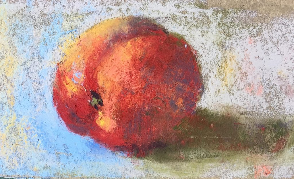 Gail Sibley, Nectarine, Terry Ludwig pastels on Wallis Belgian Mist, 2 3/4 x 5 in (Day 4)