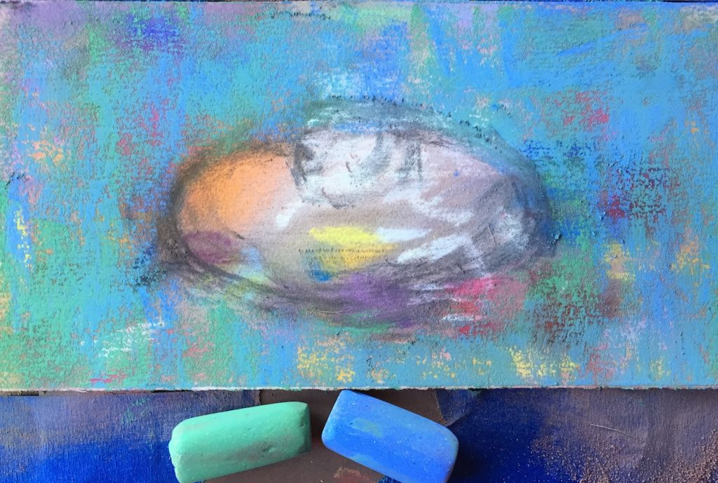 No Time to paint? First two pastels applied to create the background. I love seeing the hints of colours beneath!