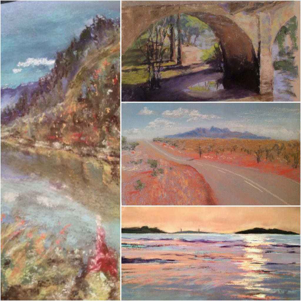 31 in 31: Clockwise from left are paintings (cropped) by: Marsha Schauer, Barbara Archer, Merryann Hardman, Sandi Graham