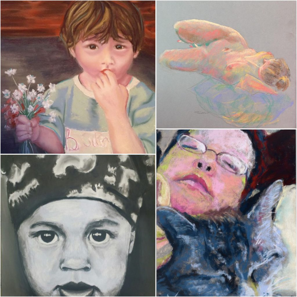 31 in 31: Clockwise from top left are paintings (cropped) by: Andrea Pyman, Maureen Conly, Marie Marfia, Evgenia Bay