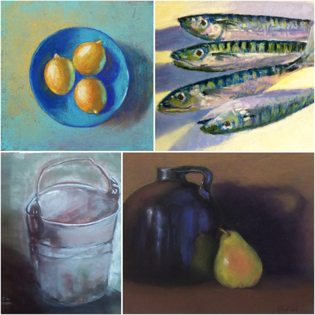 31 in 31: Clockwise from top left are paintings (cropped) by: Ayna Magomedova, Helen Stephenson, Mary Kay Schwanitz Gwinn, Cindy Cool