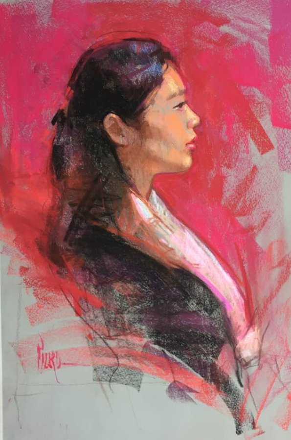 October's Superb Pastels: Alain Picard, 'Demo portrait,' pastel, 30 x 20 in