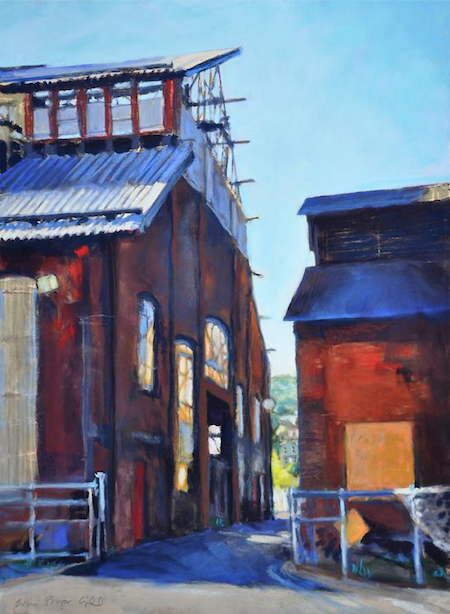 "October's Superb Pastels: Erin Gill, ""Behind the Steel Stacks-Bethlehem, PA,"" pastel on Pastelmat, 15 x 11 in"