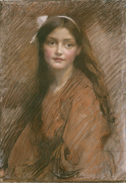 """Florence Rodway, """"Bertha Lawson,"""" ca. 1913, pastel on paper attached to strawboard, 64.5 x 45.2 cm, State Library of New South Wales, Sydney, Australia"""