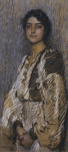 """Florence Rodway, """"The Romanian Blouse,"""" ca.1912, pastel, 101.9 x 47.6cm (40 x 19 in), Christies sale, Melbourne, 2004"""