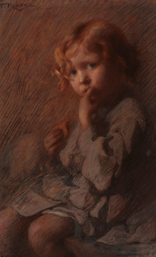"""Florence Aline Rodway, """"Toffee,"""" 1910, pastel on paper, 61.0 x 39.7 cm, Art Gallery of New South Wales, Sydney, Australia"""