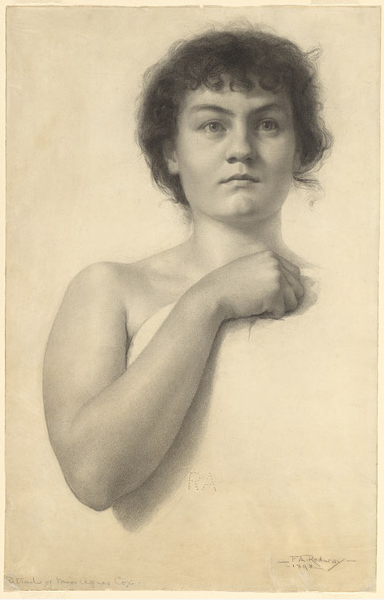 """Florence Rodway, """"Portrait of Miss Agnes Cox,"""" 1898, black pencil on paper, 58.4 x 31.5 cm, National Gallery of Australia, Canberra"""