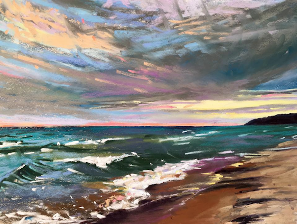 "October's Superb Pastels: Heidi Amenda Marshall, ""October on Lake Michigan,"" pastel on UArt 250, 12 x 16 in"