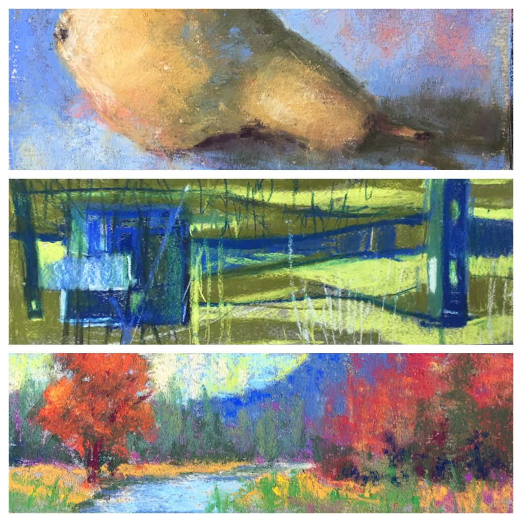 Three of my pastels from the 31 in 31 challenge (top one severely cropped!)