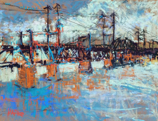 "October's Superb Pastels: Maria Marino, ""Birds on a Wire - Susquehanna River Bridge,"" pastel on La Carte, 12 x 16 in"