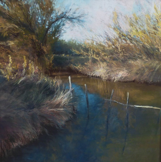 "October's Superb Pastels: Marjorie Vincent, ""Autumn Morning,"" pastel on brown Pastelmat, 16 x 16 in"