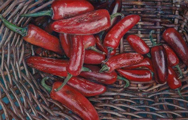 "October's Superb Pastels: Maryann Mullett, ""Hot Lips,"" pastel on UArt 500, 11 x 17 in"
