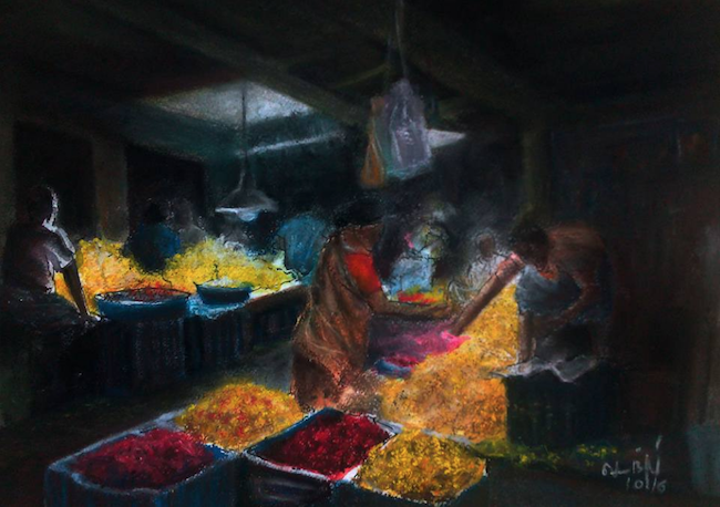 "October's Superb Pastels: Senthil Kumar, ""Flower Market,"" pastel on paper, 11 3/4 x 16 1/2 in"