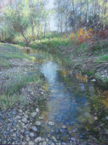 Alain Voinot, At the Nature Park, pastel on grey Canson Mi-teintes paper, 25 x 19 in