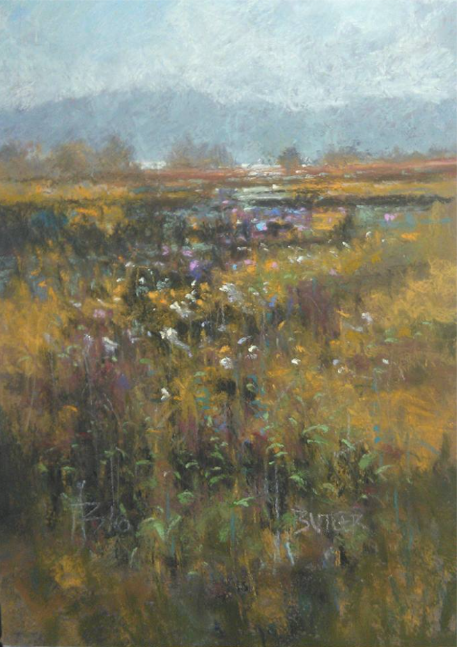 "November's Terrific Pastels: Aidan Butler, ""Coastal Wetland,"" pastel on primed Fabriano paper, 11 7/8 x 7 7/8 in (30 x 20 cm)"