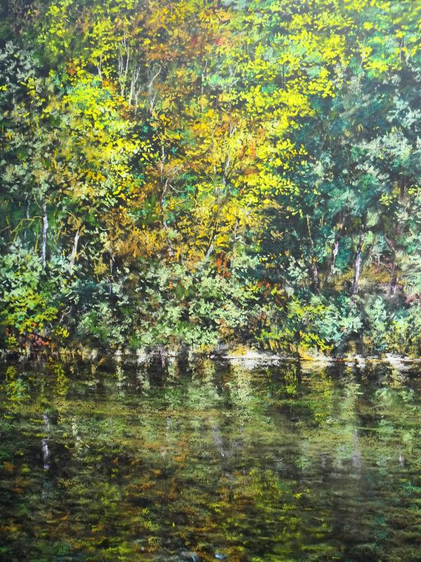 "Alain Voinot, ""Along the River,"" pastel on black Canson Mi-teintes paper, 25 x 19 in"