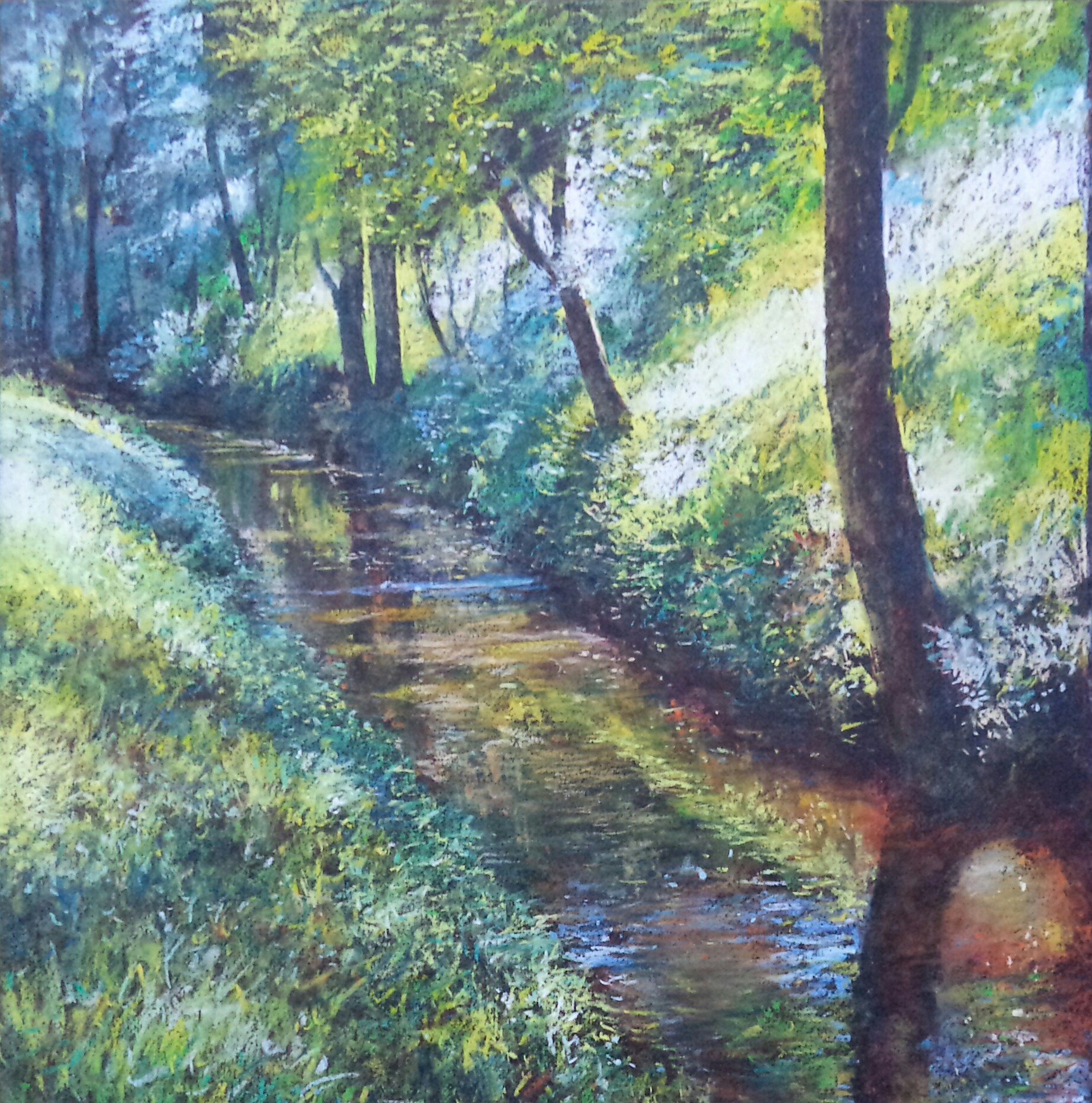 "Alain Voinot, ""Along the Stream,"" pastel on black Canson Mi-teintes paper, 19 x 19 in (square format)"